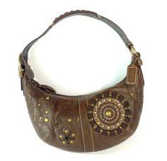 Coach Mia Hobo Purse 10062 Hand Shoulder Bag Brown Leather Bronze Studded Boho #Coach #ShoulderBag