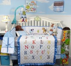 SoHo A-Z Alphabet Baby Boy Crib Nursery Bedding Set 13 pcs with diaper bag, changing pad and bottle case. Details at http://youzones.com/soho-a-z-alphabet-baby-boy-crib-nursery-bedding-set-13-pcs-with-diaper-bag-changing-pad-and-bottle-case/