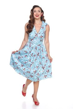 b4289ba718fc Bettie Page Tiki Oasis Blue Tropic Palm Tree Out to Brunch Career Swing  Dress M #