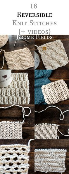 16 Reversible Knit Stitch eBook, plus Row by Row Video Tutorials by Brome Fields