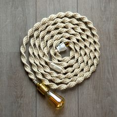 Macrame rope light / Natural braided cotton cord / 5 meter /