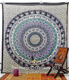 Hippie Elephant Tapestries, Large Size Tapestry Wall Hanging, Mandala Tapestries, Bohemian Tapestries, Wall Tapestries, Dorm Decor, Queen Bed Cover Bedding (1, A) Craft Aura http://smile.amazon.com/dp/B00PHDJY4S/ref=cm_sw_r_pi_dp_rJ7Zvb02A66AW