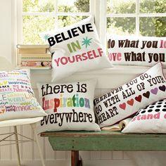 PB Teen inspirational pillows Cute for decorations Definitely a DIY Boho chic inspiration Teen Bedding, Teen Bedroom, Bedroom Decor, Bedroom Ideas, Bedrooms, Pillow Inspiration, Room Inspiration, Cute Pillows, Bed Pillows