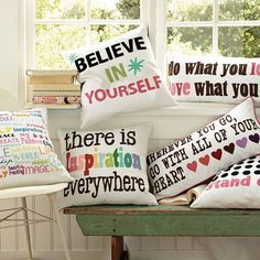 PB Teen inspirational pillows Cute for decorations ❤#dreamrooms