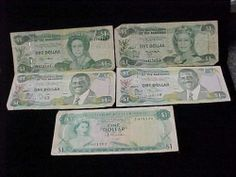 5 $1 Central Bank of The Bahamas Foreign Notes Currency 2002 1996 2001 Serie | eBay