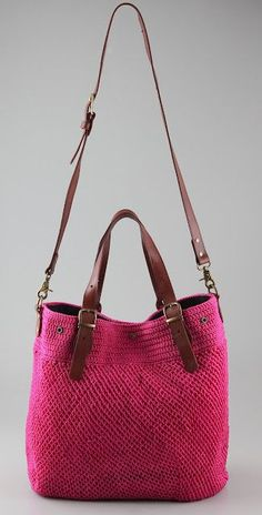 crochet + leather bag: