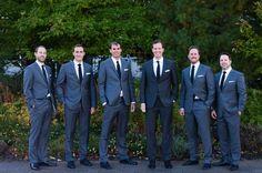 love this sharp look. Navy groom, gray groomsmen, white shirt, black or navy tie Best Wedding Suits, Wedding Men, Wedding Ideas, Wedding Attire, Wedding Colors, Wedding Planning, Dream Wedding, Wedding Inspiration, Wedding Themes