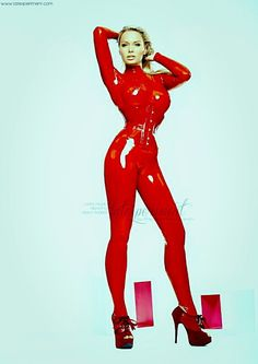 #latexfashion - red #latex #catsuit