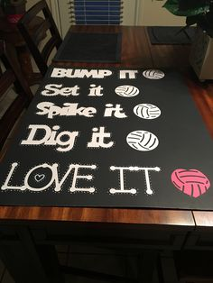 Dribble it Pass it Shoot it Score it Love it (Use soccer balls instead of volleyballs) Volleyball Locker Decorations, Volleyball Signs, Volleyball Crafts, Volleyball Posters, Coaching Volleyball, Volleyball Party, Volleyball Photos, Volleyball Clubs, Beach Volleyball