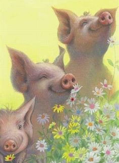 Three little pigs Illustration Mignonne, Cute Illustration, Three Little Pigs, This Little Piggy, Farm Animals, Funny Animals, Cute Animals, Pig Crafts, Pig Art