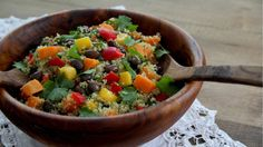 This black bean quinoa rainbow salad recipe is protein-rich. It combines mango, avocado, cilantro, and lime. Get the recipe at PBS Food.