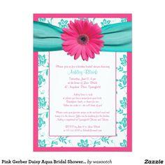 "Pink Gerber Daisy Aqua Bridal Shower Invitation 5"" X 7"" Invitation Card"