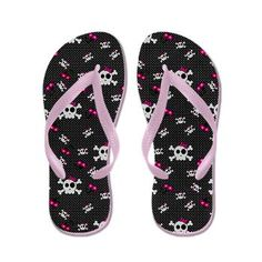 Sold: (more available) Girly Goth Skulls Flip Flops