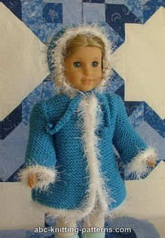 ABC Knitting Patterns - Faux Fur Trimmed Coat for American Girl Doll