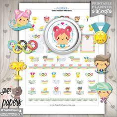 Sport Stickers, Planner Stickers, Kawaii Clipart, Planner Accessories, Olympic Stickers, Olympic Games, Athletics, Erin Condren