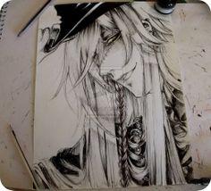 Black Butler, Undertaker that's super good Der Undertaker, Black Butler Undertaker, Black Butler 3, Black Butler Anime, Book Of Circus, Fantasy, Manga Art, Art Sketches, Black And White