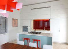 Kitchen island white with blue facing
