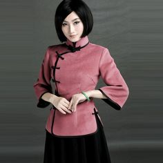 Republic Of China Style Velvet Mandarin Tops for Girls Pink - $226 - SKU: 570059 - Buy Now: http://elegente.com/nzx.html #ChineseladyQipao #Qipao #Cheongsam