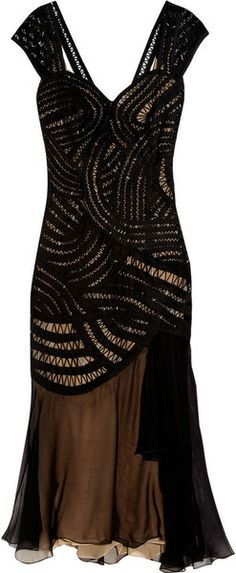 Beaded Tulle and Crepe Midi Dress Alberta Ferretti - I cud see myself making something similar by chopping a well fitting little dress w a great pattern and adding the soft fabric and changing neck and shoulder details... Could be a great repurpose piece...