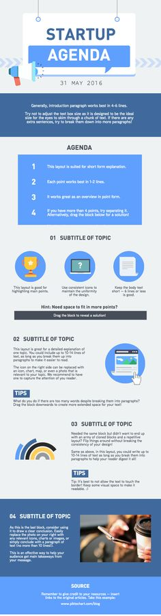 This infographic template is designed with a fun and creative vibe, and is perfect for #startups! Use this template to design the agenda of team meetings and scrums, and turn those boring data into attractive visuals for your team. | Create your #infographic at piktochart.com