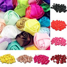 10Pcs DIY Craft Wedding Applique Bridal Bouquet Satin Ribbon Rose Buds Flowers