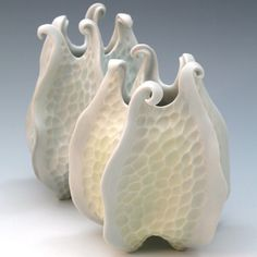 Porcelain urchin vase with curlicues in aqua blue by robertapolfus, $78.00