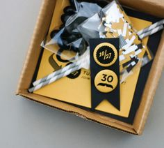 30th birthday party in a box - for the loved ones who can't make the party but want to be party of the celebration.