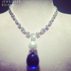 The largest natural round pearl in world turned into a necklace with an exceptional sapphire by jewellery David Morris Sapphire Necklace, Sapphire Jewelry, High Jewelry, Unique Jewelry, Blue Sapphire, Amethyst, Jewelry Design, Bling, Pendants
