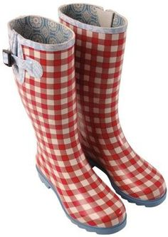 Red gingham Rubber Boots