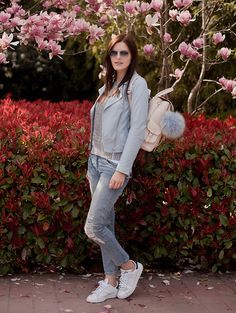 Get this look: http://lb.nu/look/8205869  More looks by Viktoriya Sener: http://lb.nu/viktoriyasener  Items in this look:  Stradivarius Jacket, Mango Backpack, Romwe Sweater, Mango Jeans, Adidas Trainers   #chic #sporty #street