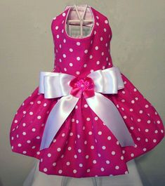 Hot Pink With White Polka Dot Dog Dress by on Etsy Chihuahua Clothes, Puppy Clothes, Dog Dresses, Girls Dresses, Dog Clothes Patterns, Pink Satin, White Satin, Pet Costumes, Girl And Dog