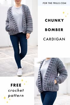 Looking for modern crochet inspiration? This chunky bomber cardigan is cosy, stylish and easy to crochet! Learn how to crochet a cardigan with the step-by-step video tutorial and free pattern. Knit Cardigan Pattern, Chunky Cardigan, Crochet Cardigan Pattern, Sweater Knitting Patterns, Free Knitting Patterns For Women, Fall Cardigan, Crochet Sweaters, Easy Knitting, Pull Crochet