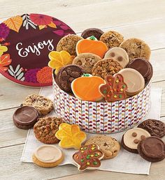 This fall, send a cookie gift to all of your friends. Cheryl's fall-themed cookies and treats are the sweetest way to send a message during the autumn season. Peanut Butter Frosting, Cookie Frosting, Butter Pecan, Buttercream Frosting, Fall Decorated Cookies, Fall Cookies, Cut Out Cookies, Tin Gifts, Cookie Gifts