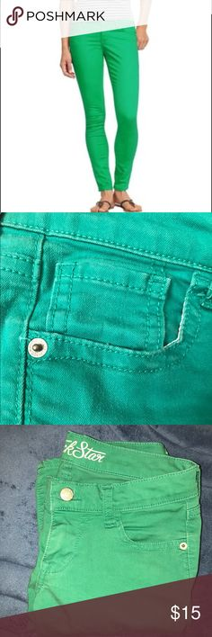Rockstar Denim Jegging In great preowned condition. 98% cotton, 2% spandex. Color is gestalt green. I'm having a tough time photographing it but will take some pics in natural light tomorrow. Size four on tag but I think runs small as I'm usually a 0/2 and these fit me. Old Navy Jeans Skinny