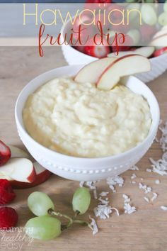 Hawaiian Fruit Dip | Yummy Healthy Easy  It has sour cream, which I don't like but was wondering if you could substitute cream cheese (need milk??) --- other stuff I like!