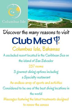 Club Med - Columbus Isle (Bahamas) Book your next Club Med All-Inclusive getaway with Joe's Magical Moments Vacations. Contact jfeathersjr@gmail.com