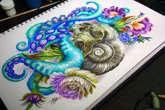tentacles, skull, tattoo