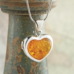Baltic Amber Heart Locket   National Geographic Store