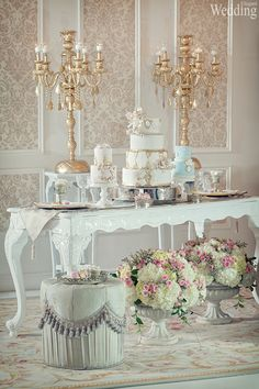 Have you considered a Marie-Antoinette theme for your wedding? Live the fairytale with this gorgeous sweet table http://www.elegantwedding.ca/