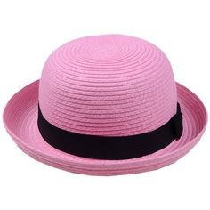Partiss Ladies Narrow Brim Ribbon Braid Fashion Sun Hats,One size,Pink