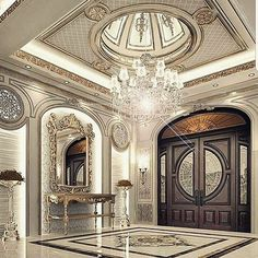 5 Domed Ceiling Decoration In A Luxurious Home Design Mansion Interior, Luxury Homes Interior, Luxury Home Decor, Home Interior Design, Design Entrée, Lobby Design, Door Design, Design Styles, Ceiling Decor