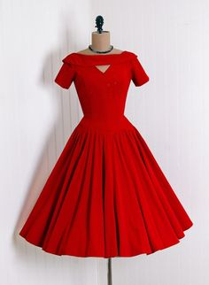 1950's Ruby-Red Cocktail-Length dress.