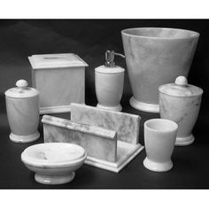 Series 300 in White Z Marble 7-Piece Bathroom Accessory Set