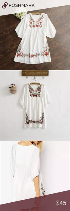 Embroidered tunic NEw without tags. Wear lose with skinny jeans or shorts. Or as a coverup. Can also be a dress. Tops