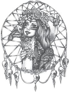 Native American Indian Girl In Skull Dreamcatcher Print bird skulls  tattoo art 5 by 7 black and white. $5.00, via Etsy.