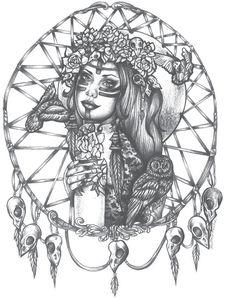 Native American Indian Girl In Skull Dreamcatcher Print bird skulls  tattoo art 5 by 7 black and white. $5.00, via Etsy.