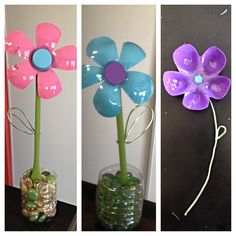 upcycled water bottle flowers