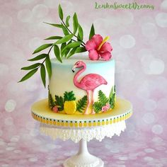 Tropical birthday cake for a tropical summer bash or a flamingo themed birthday party Flamingo Party, Flamingo Cake, Flamingo Birthday, Luau Cakes, Party Cakes, Beach Cakes, Celebration Cakes, Birthday Celebration, Hawaiian Birthday Cakes