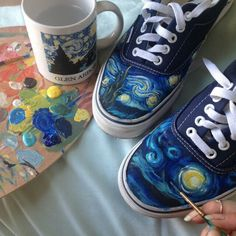 i've customised converse and plain white sneakers but never vans. Painted Jeans, Painted Clothes, Painted Shoes, Painted Sneakers, Canvas Sneakers, Hand Painted, Vincent Van Gogh, Style Année 80, Kleidung Design