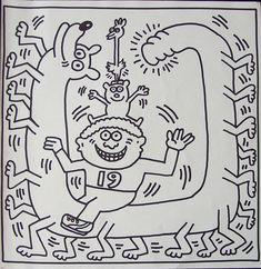 Keith Haring maakte de kleurplaat in 1982. Deze litho is uitgebracht door Harmonie. Deze lithografie is betaalbare kunst van Dert Nijland Fine Arts.